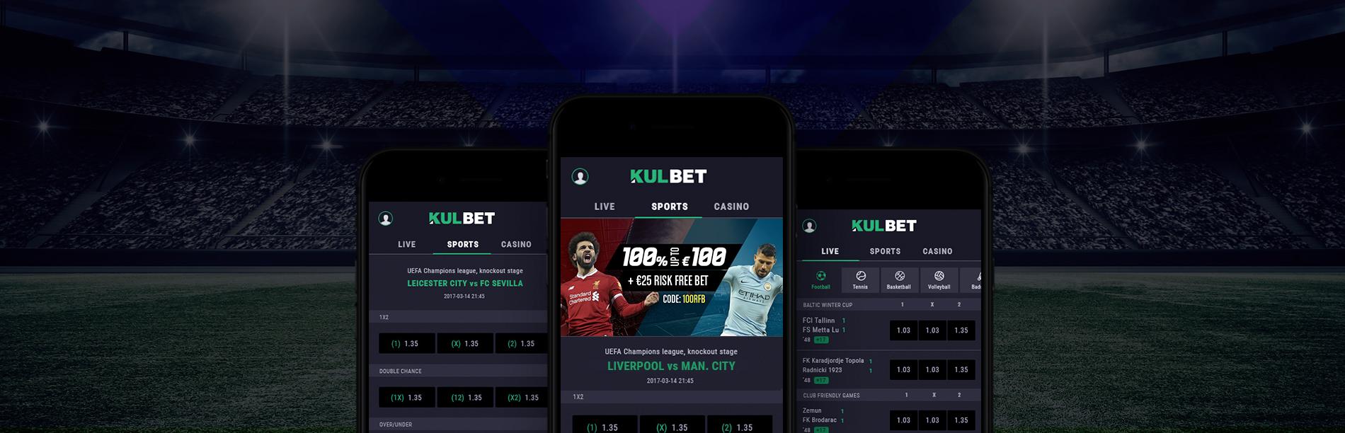 Sports Betting Kulbet UI Design