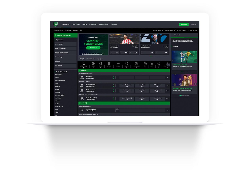 Sports betting UI Design desktop